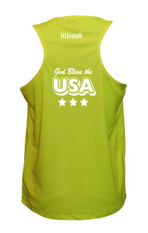 Men's Reflective Tank Top - God Bless the USA - Lime Yellow back