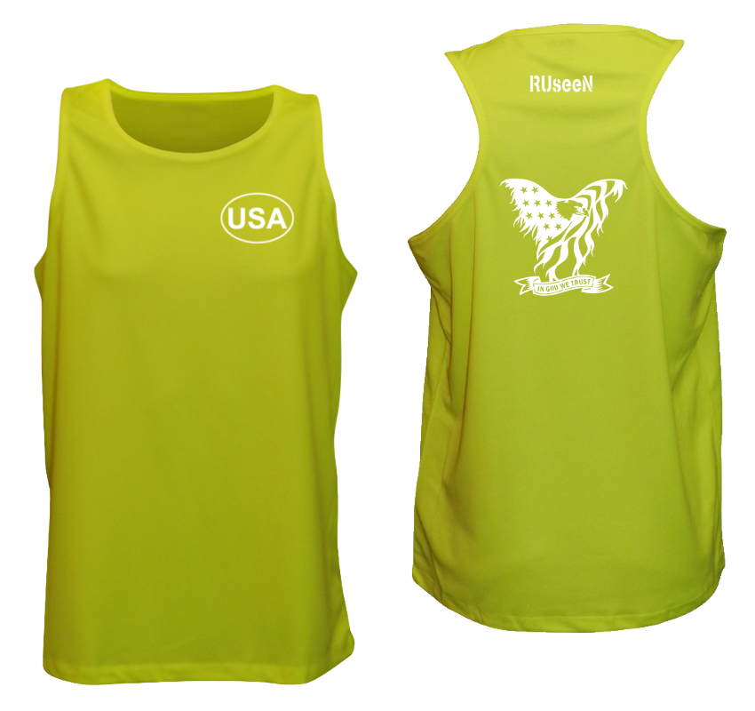 Men's Reflective Tank Top - In God We Trust - Lime Yellow