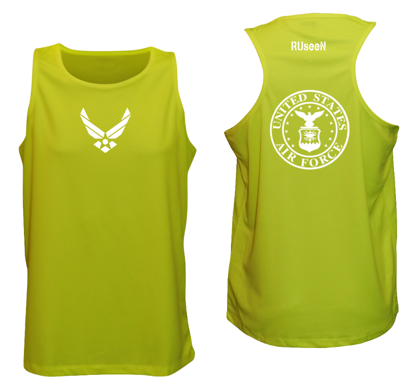 Men's Reflective Tank Top - USAF - Lime Yellow