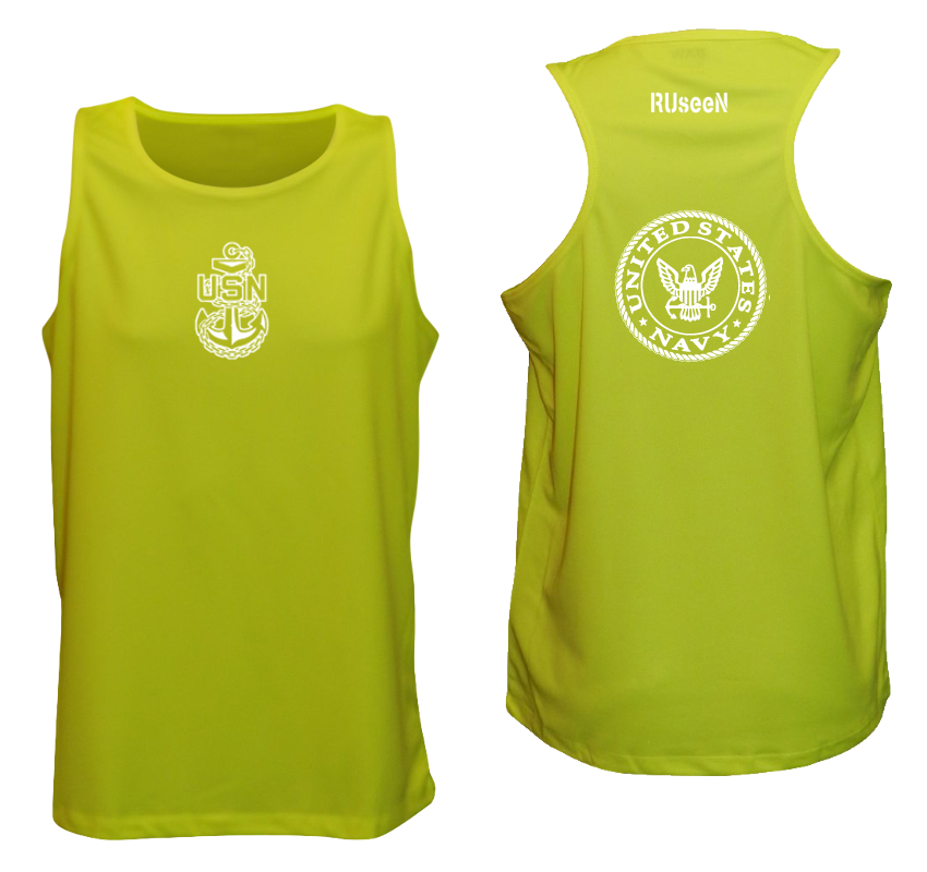 Men's Reflective Tank Top - US Navy - Lime Yellow