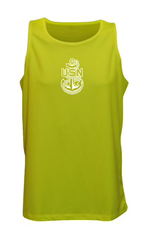 Men's Reflective Tank Top - US Navy - Lime Yellow front