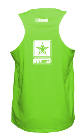 Men's Reflective Tank Top = US Army - Neon Green back