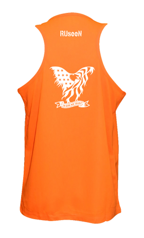 Men's Reflective Tank Top - In God We Trust - Orange back