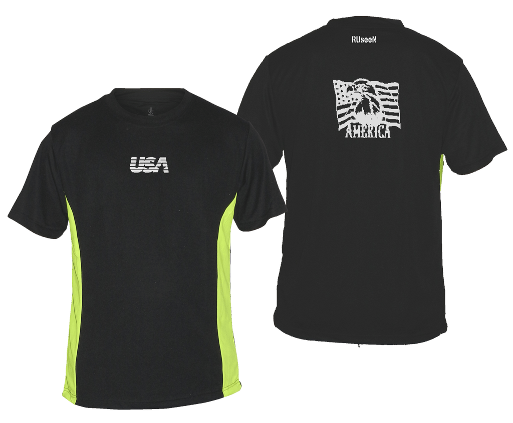 Men's Reflective Short Sleeve Shirt - America - Black & Lime