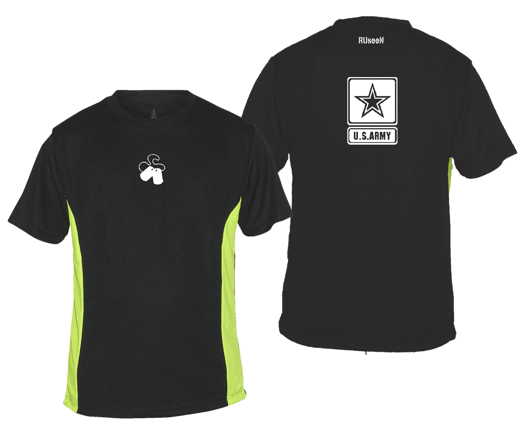 Men's Reflective Short Sleeve Shirt - US Army - Black & Lime