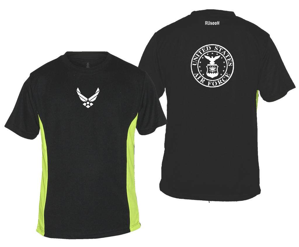 Men's Reflective Short Sleeve Shirt - USAF - Black & Lime