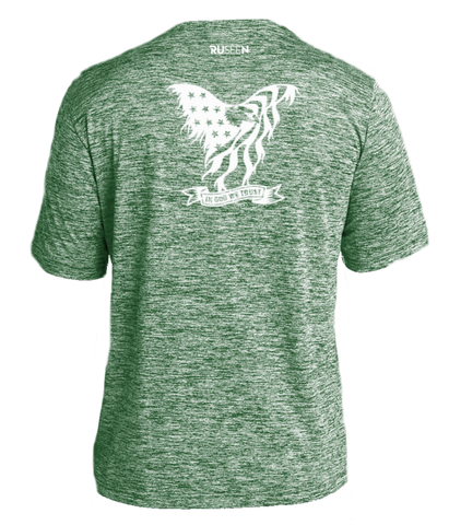 Men's Reflective Short Sleeve Shirt - In God We Trust - Green Heather back