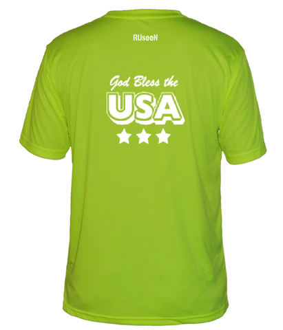 Men's Reflective Short Sleeve Shirt - God Bless the USA - Lime Yellow back