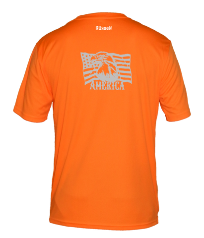 Men's Reflective Short Sleeve Shirt - America - Orange back