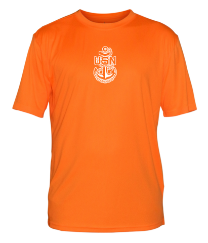 Men's Reflective Short Sleeve Shirt - US Navy - Orange front