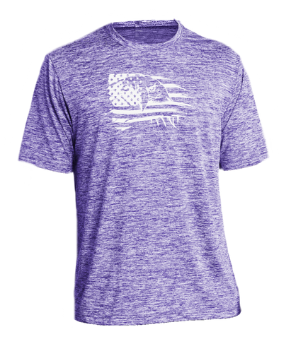 Men's Reflective Short Sleeve Shirt - Eagle Flag - Purple Heather front