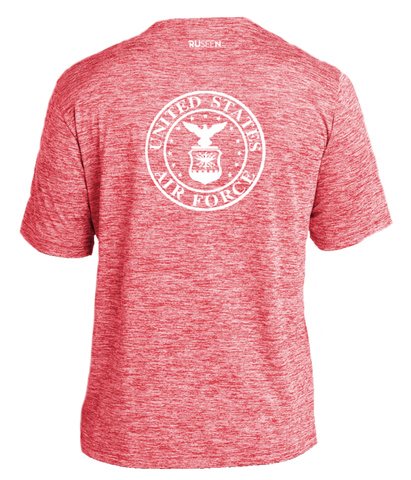 Men's Reflective Short Sleeve Shirt - USAF - Red Heather back
