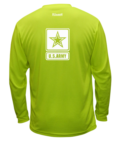 Unisex Reflective Long Sleeve Shirt - US Army - Lime Yellow back