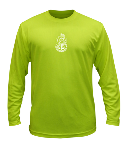 Unisex Reflective Long Sleeve Shirt - US Navy - Lime Yellow front