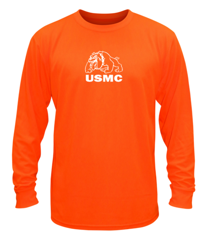 Unisex Reflective Long Sleeve Shirt - USMC - Orange front
