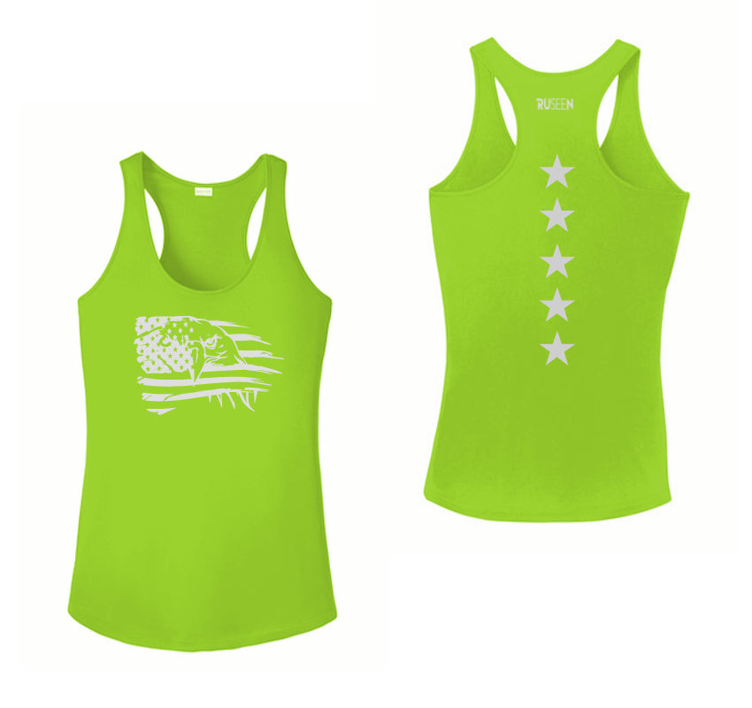 Women's Reflective Tank Top - Eagle Flag - Lime Green