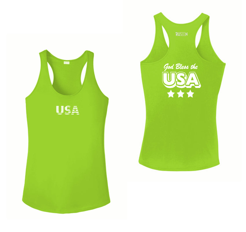 Women's Reflective Tank Top - God Bless the USA - Lime Green