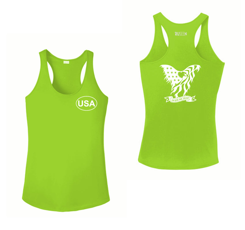 Women's Reflective Tank Top - In God We Trust - Lime Green