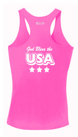 Women's Reflective Tank Top - God Bless the USA - Neon Pink back