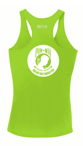 WOMEN'S REFLECTIVE TANK TOP SHIRT –  POWMIA - Front & Back –  Lime Green Back