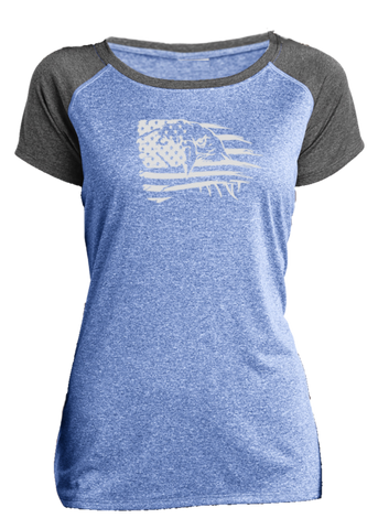 Women's Reflective Short Sleeve Shirt - Eagle Flag - 2 Tone Royal Gray Heather front
