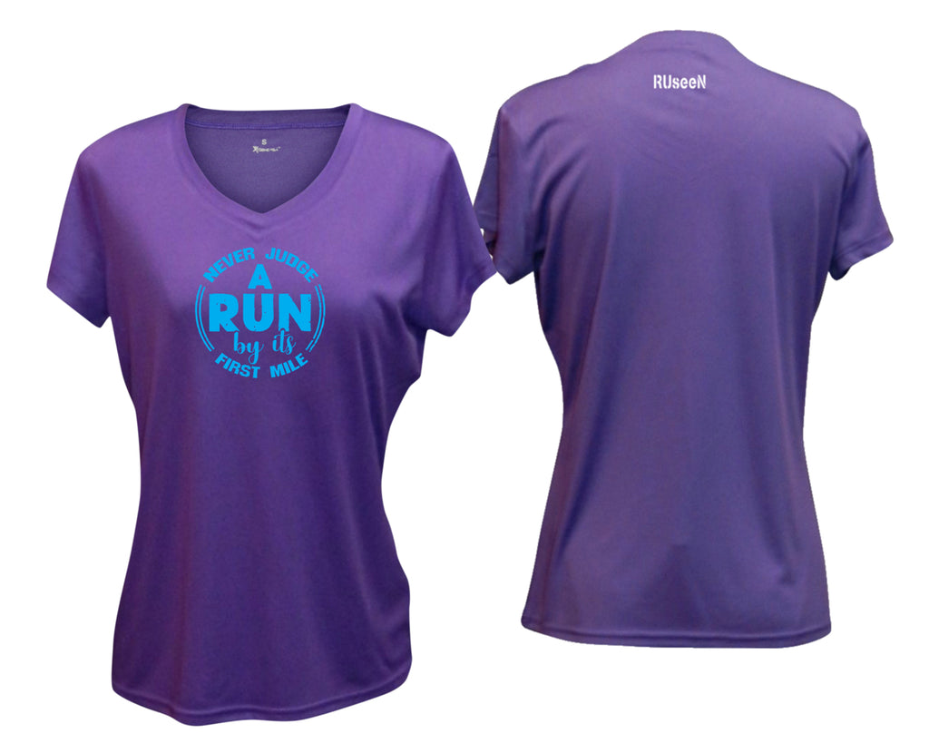 Women's Short Sleeve Shirt - Never Judge a Run - Dark Purple