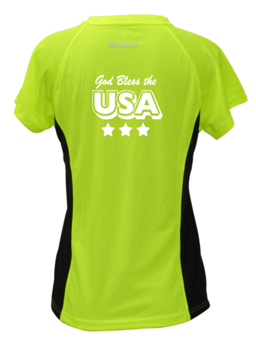 Women's Reflective Short Sleeve Shirt - God Bless the USA - Lime with Black Sides back