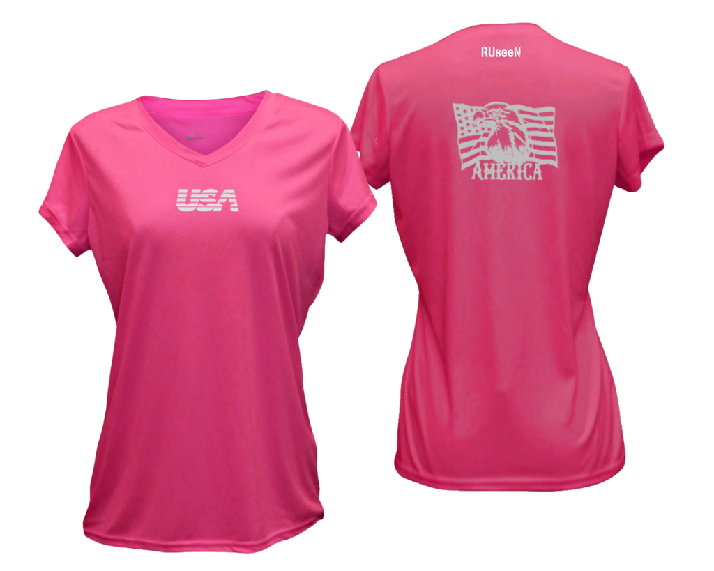 Women's Reflective Short Sleeve Shirt - America - Neon Pink