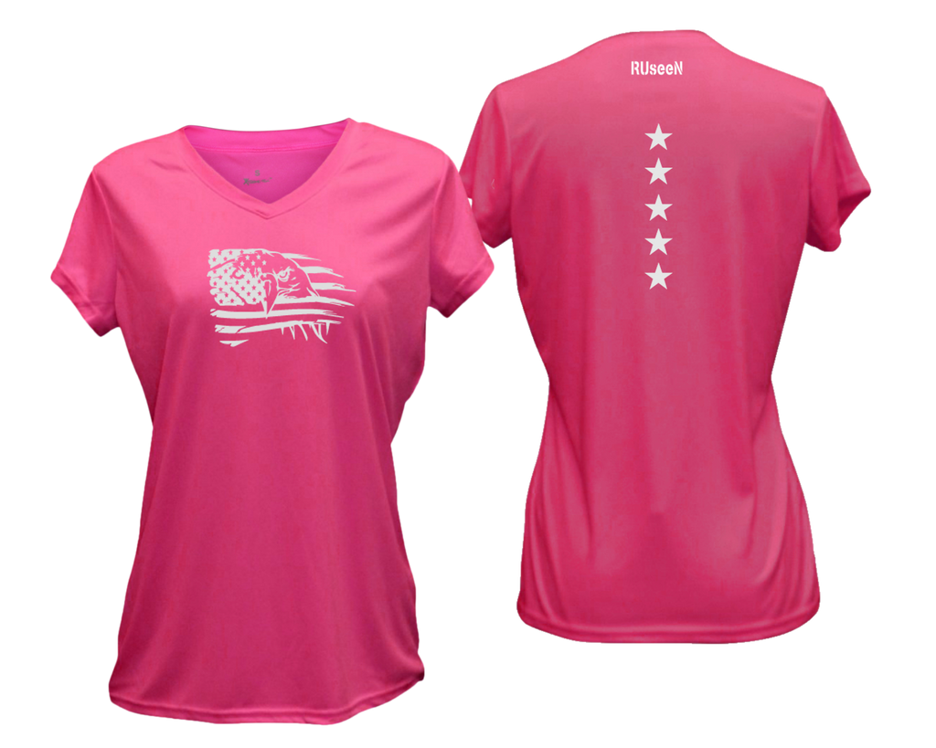 Women's Reflective Short Sleeve Shirt - Eagle Flag - Neon Pink
