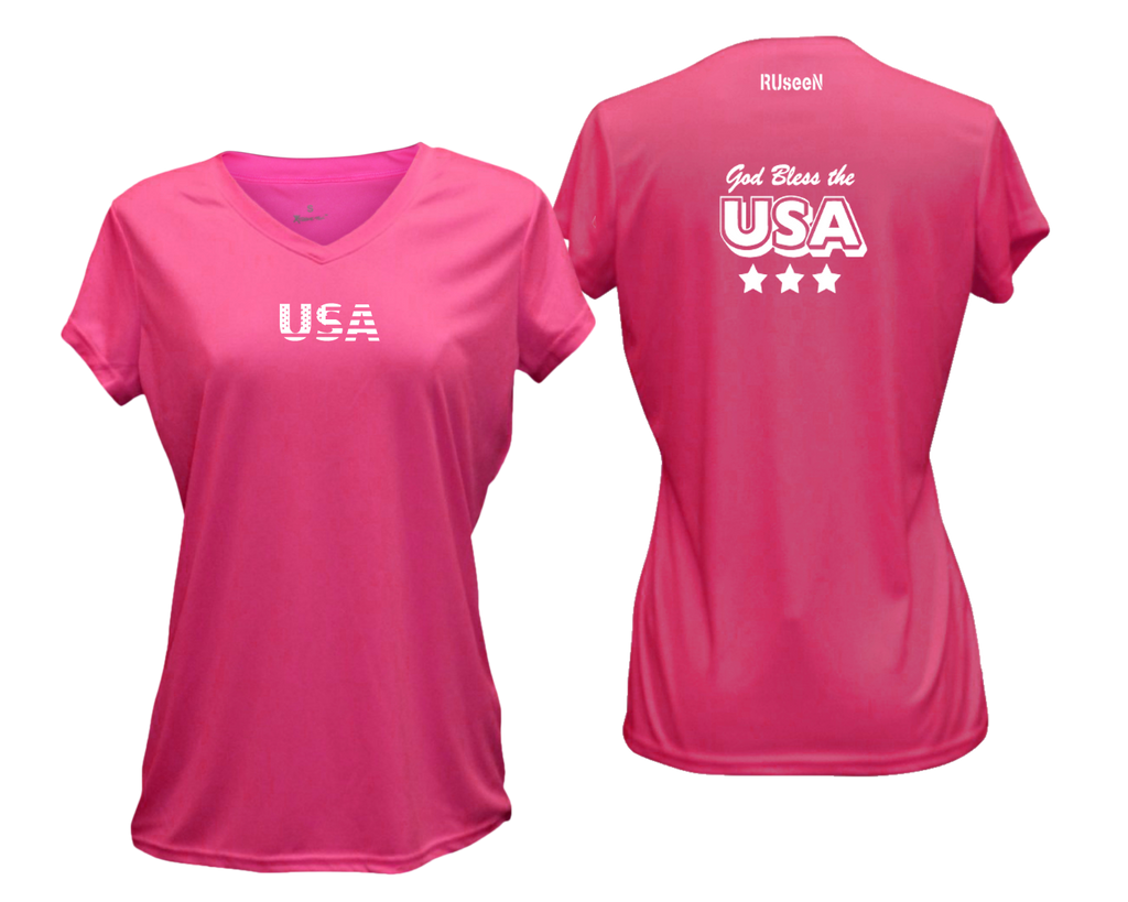 Women's Reflective Short Sleeve Shirt - God Bless the USA - Neon Pink