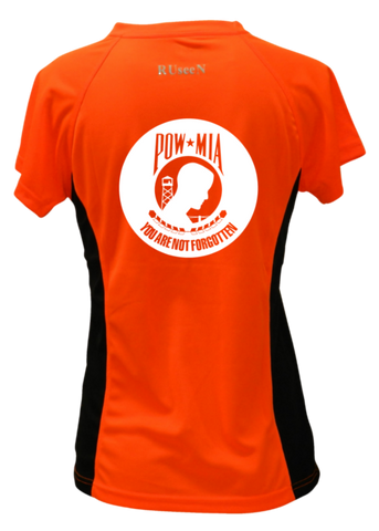 WOMEN'S REFLECTIVE SHORT SLEEVE SHIRT –  POWMIA - Back – Orange with Black Sides