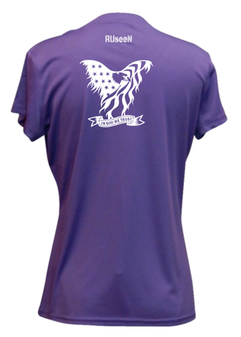 Women's Reflective Short Sleeve Shirt - In God We Trust - Dark Purple back