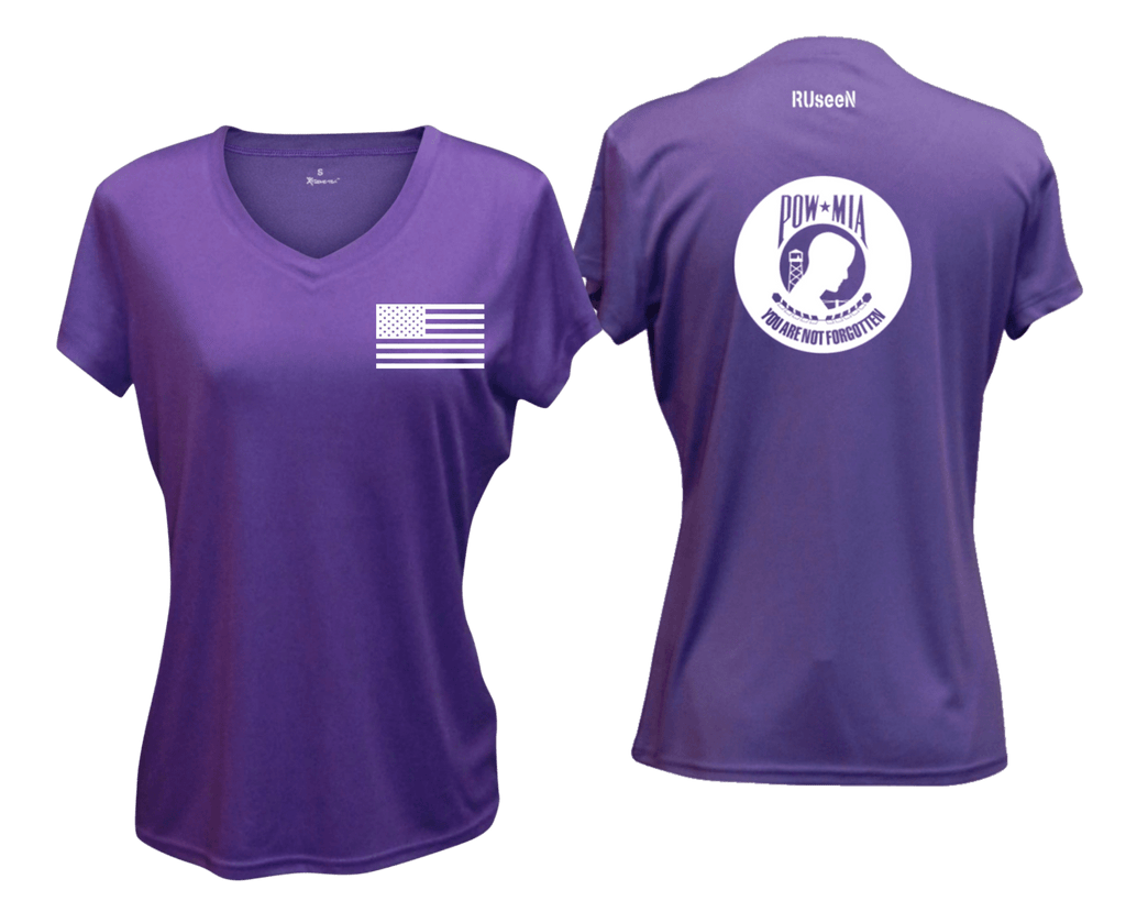 WOMEN'S REFLECTIVE SHORT SLEEVE SHIRT –  POWMIA - Front & Back –  Dark Purple