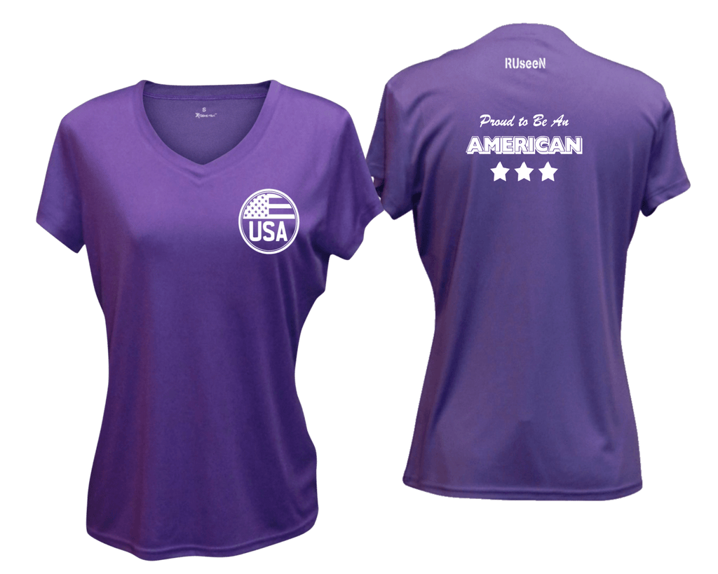 WOMEN'S REFLECTIVE SHORT SLEEVE SHIRT – PROUD AMERICAN - Front & Back – Dark Purple