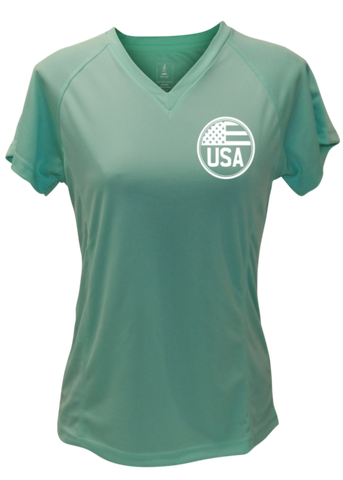 WOMEN'S REFLECTIVE SHORT SLEEVE SHIRT – PROUD AMERICAN - Front & Back –  Sea Green