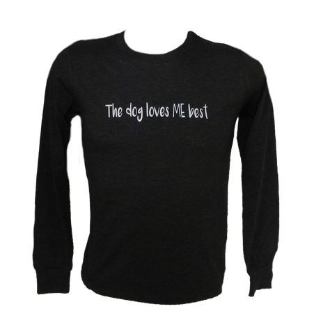 KIDS REFLECTIVE LONG SLEEVE SHIRT –  The Dog Loves Me Best - Front - Black