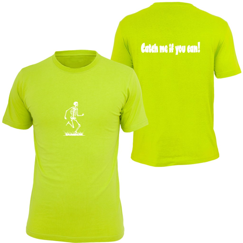 KIDS REFLECTIVE SHORT SLEEVE SHIRT –  CATCH ME IF YOU CAN - Front & Back – Lime Yellow