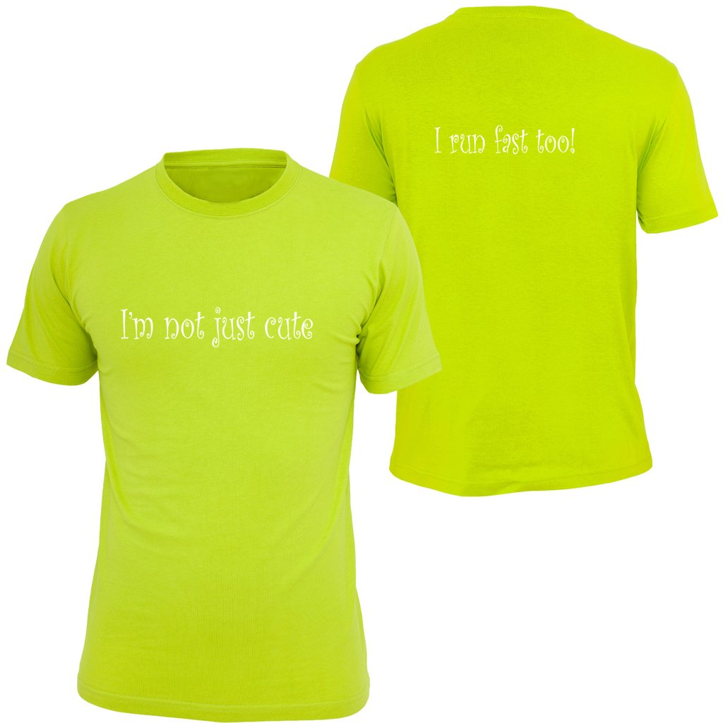 KIDS REFLECTIVE SHORT SLEEVE SHIRT –  I'M NOT JUST CUTE - Front & Back – Lime Yellow