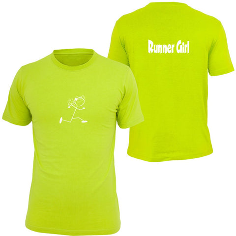 KIDS REFLECTIVE SHORT SLEEVE SHIRT –  RUNNER GIRL - Front & Back – Lime Yellow