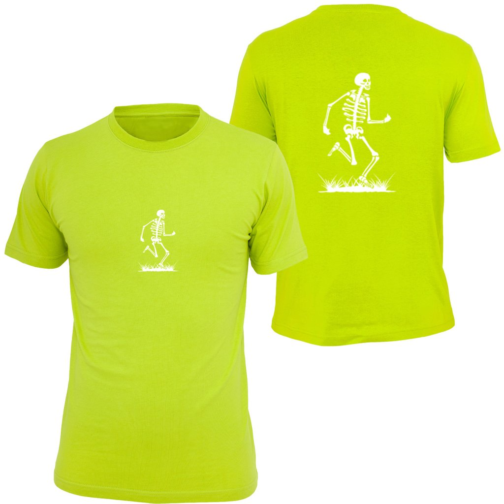 KIDS REFLECTIVE SHORT SLEEVE SHIRT –  SKELETON - Front & Back – Lime Yellow