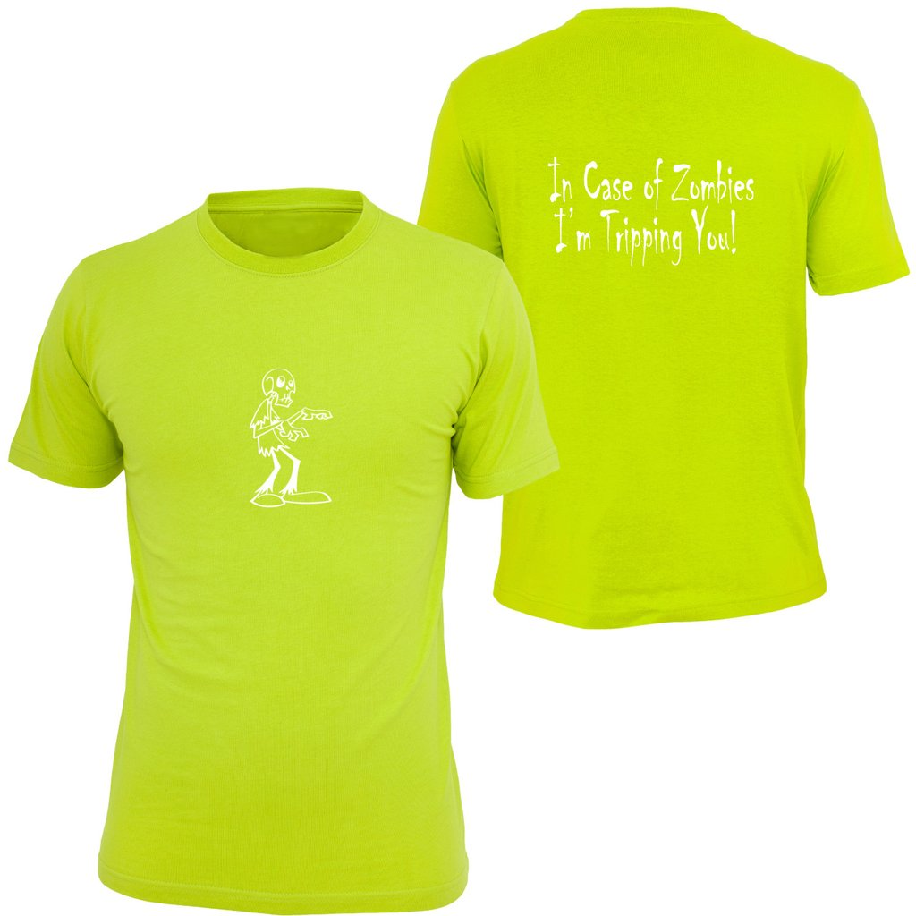 KIDS REFLECTIVE SHORT SLEEVE SHIRT –  ZOMBIE - Front & Back – Lime Yellow