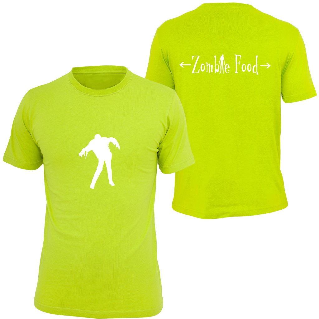 KIDS REFLECTIVE SHORT SLEEVE SHIRT –  ZOMBIE FOOD - Front & Back – Lime Yellow