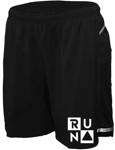 "Men's Reflective Running Shorts - 5"" Black - Run Squared"