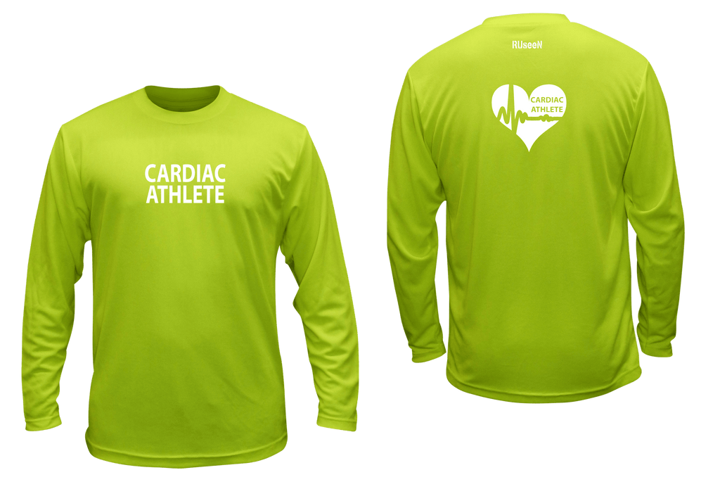 UNISEX LONG SLEEVE SHIRT - CARDIAC ATHLETE - Reflective - Front & Back - Lime Yellow
