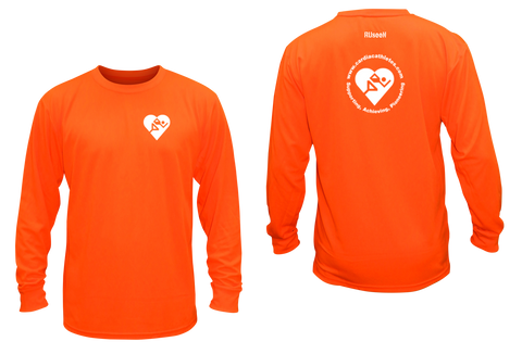 UNISEX LONG SLEEVE SHIRT - CARDIAC ATHLETE .ORG - Front & Back - Reflective - Orange