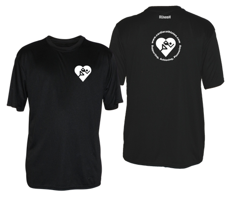 MEN'S REFLECTIVE SHORT SLEEVE SHIRT - CARDIAC ATHLETES .ORG - FRONT & BACK - BLACK