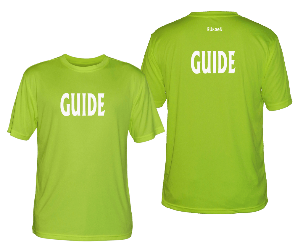 MEN'S REFLECTIVE SHORT SLEEVE SHIRT - GUIDE - Front & Back - Lime Yellow