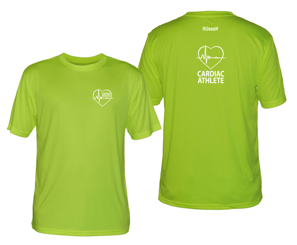 MEN'S SHORT SLEEVE SHIRT - CARDIAC ATHLETE - REFLECTIVE - Front & Back - Lime Yellow