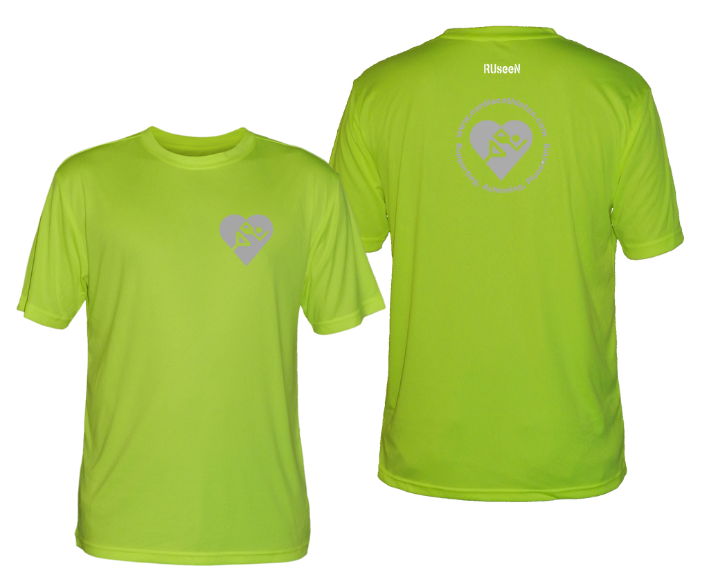 MEN'S REFLECTIVE SHORT SLEEVE SHIRT - CARDIAC ATHLETES .ORG - FRONT & BACK - LIME YELLOW