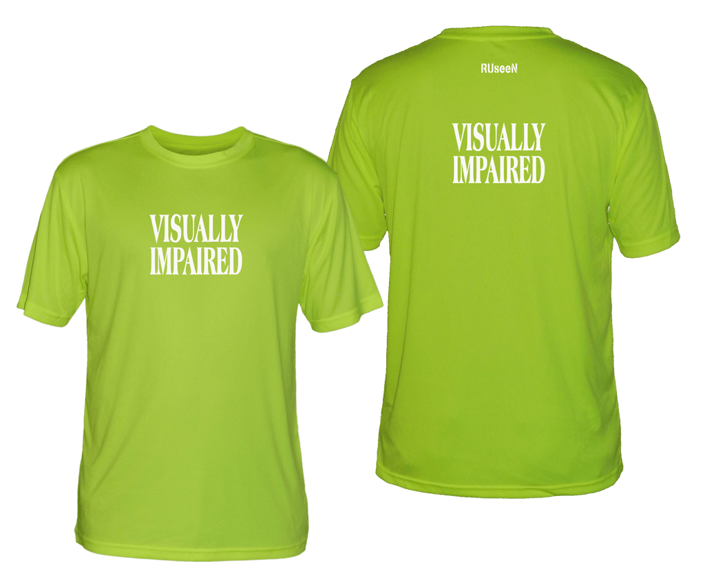 MEN'S REFLECTIVE SHORT SLEEVE SHIRT - VISUALLY IMPAIRED - Front & Back - Lime Yellow
